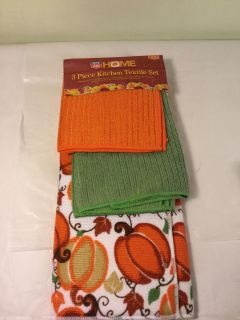 Home Thanksgiving day kitchen set, includes drying mat, kitchen towels, and dishcloths