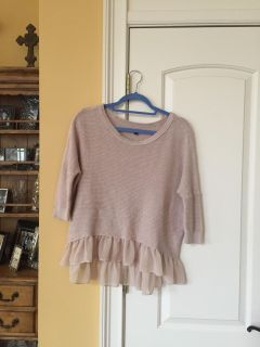 Tan or Ecru American Eagle Sweater with blouse embellishments at hem- slightly longer in back Size S/P