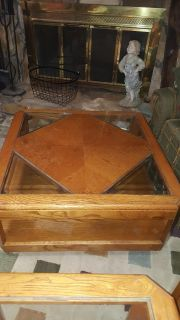 Oak and glass coffee table and end tables