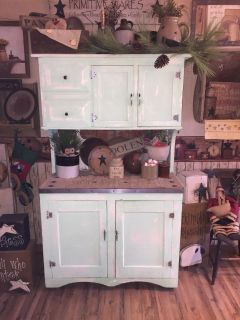 """Antique hutch in excellent cond...lots of storage space and decorating possibilities...approx 6' high, 43"""" wide and 22"""" deep..."""