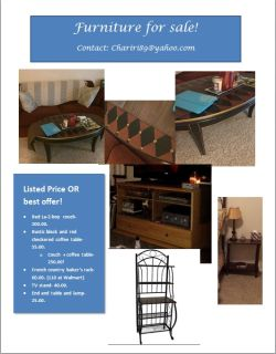 $1, Red La-Z-boy couch, tv stand, coffee table, bakers rack- BEST OFFER