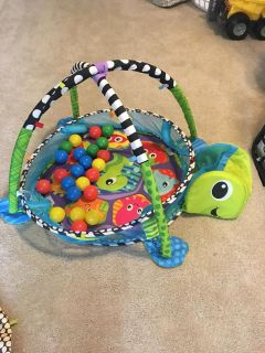 Baby Play Mat with Balls-Plush Turtle Activity Gym and Ball Pit