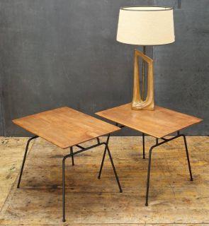 Paul McCobb Iron Birch Tables Vintage Mid-Century