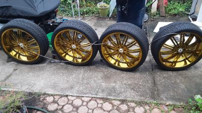 """4 -- 26 """" Wheels and tires, 305 / 30 ZR26, Excellent Condition, Cross Posted."""