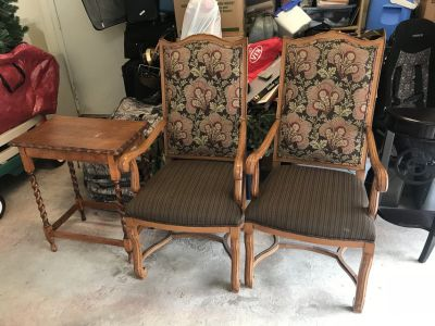 Pair of antique wooden chairs and table