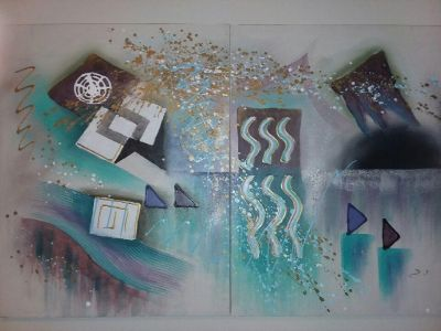Abstract paintings set of 2