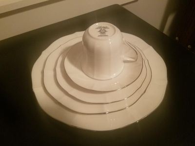 NWT Noritake Ivory China (white with silver lining)