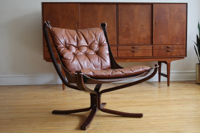 Danish Mid-Century Brown Leather Falcon Chair