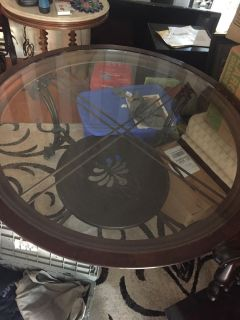 HEAVY Iron Glass top kitchen table