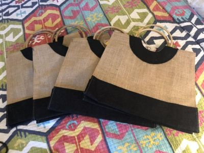Burlap and bamboo totes - new with tags