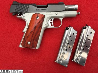 For Sale/Trade: Kimber 1911 9mm ULTRA CARRY II, two-tone wood grips, two magazines, holster, ammo, extras