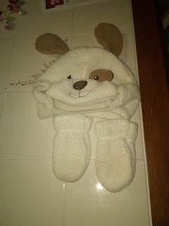 0-24 mos puppy dog hat and mittens