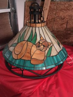 """""""Cat"""" Stained Glass Hanging Light Fixture"""