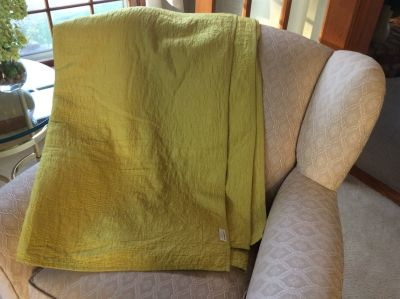 Crate and Barrel full/queen citron coverlet