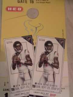 TEXANS / GIANTS - 2 TICKETS AND YELLOW PARKING PASS