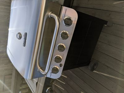 New this season Char Broil propane grill with side burner