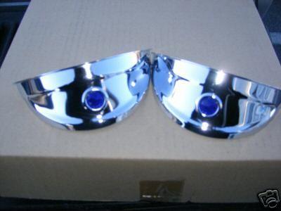 Chrome Blue Dot Headlight Visors 4 VWs