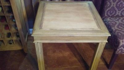 Solid Oak Table Distressed Cream & Greens