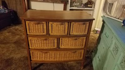 NICE WOOD DRESSER WITH WICKER DRAWERS...FEW SCRATCHES ON LEGS...VERY STURDY...NEED SOLD ASAP