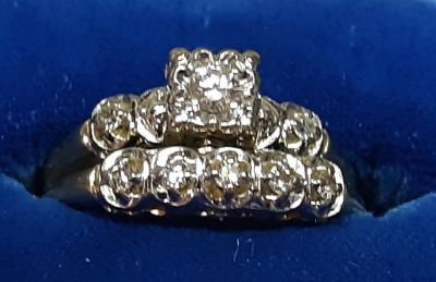 Antique 14K Gold Classic Vintage Wedding ring set