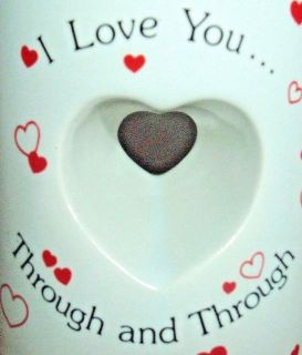 Vintage Papel I Love You Through and Through Cut Out Heart Shape Coffee Mug Cup