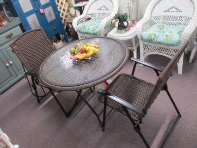 Wicker Glass Top Patio Table With 2 Chairs
