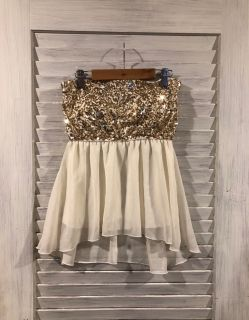 Gold Sequined Tube-Top (Sz M)