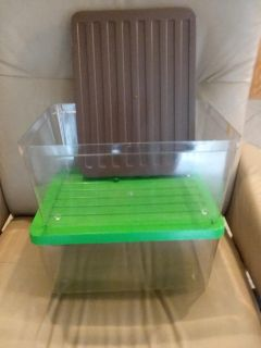 Set of 2 clear plastic storage boxes