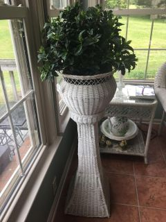 Vintage White Wicker Plant Stand Reduced Price