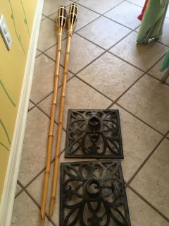 Tiki torches and stands