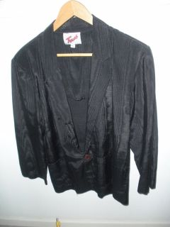 vintage 80s 90s slick / shiny black new wave sport coat jacket blazer 40 reg.