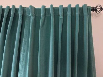 Light teal aqua blue green velvet rod pocket panels drapes curtains