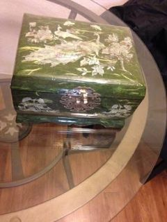 Jewelry Box Lacquered with Mother of Pearl inlay Peacocks Handmade Kor