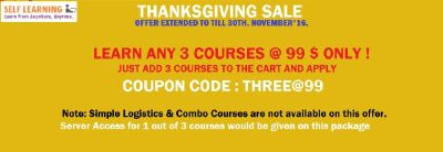 LAST 2 DAYS EXTENDED THANKS GIVING SALE : ANY 3 COURSES @ 99 $ ( OFFER VALID till 30th, November - http://www.selflearningsap.com