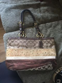 Coach striped patchwork collection tote 13075
