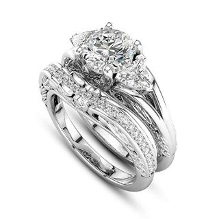 ****BRAND NEW*** CZ Wedding Set With Engraving On Bands***SZ 8