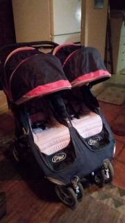 City mini double stroller black and red