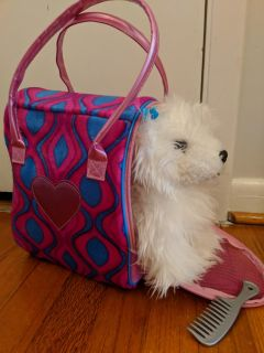 Puppy dog with fashion carrier and comb