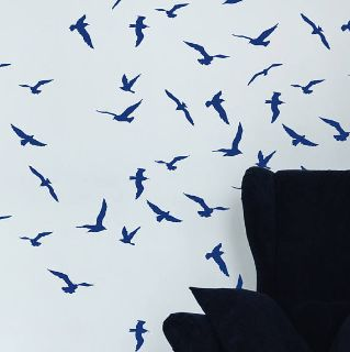Storm Birds Stencil, Scandi wall stencil
