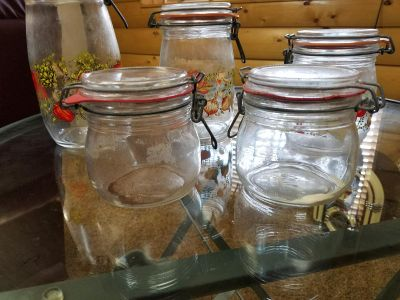 Vintage glass mushrooms canisters
