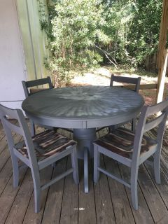 Grey Dining Room Table and Chairs