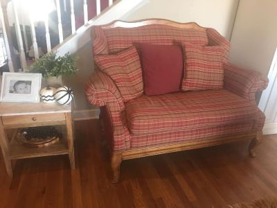 Red plaid couch.