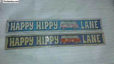 OLD Happy Hippy Lane Tin Sign