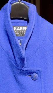 Royal Blue Karen Petites Wool Coat Sz 10 - (Bethesda)