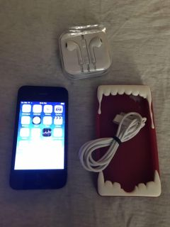 16gb (AT&T) iphone 4 W/Case, Ear Buds, & Data/Charging Cord