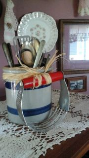 Pottery Crock With Antique /Vintage Kitchen Utensils-Assembled by Crafter