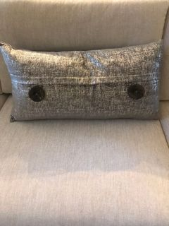 Metallic silver decorative pillow