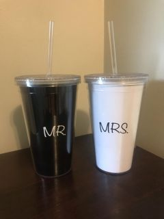 Mr and Mrs travel cups