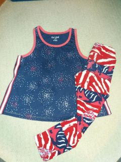 Great for memorial day or 4th of July. Cat and Jack size 7&8 top luloroe leggings