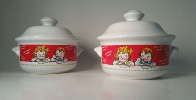 NEW Two (2) Campbells Soup Kid's Collectable Soup Bowls with Lids M'm! M'm! Good